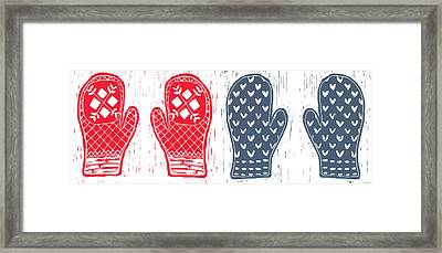 Red And Blue Nordic Mittens Framed Print
