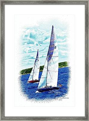 Red And Blue Sailboats Framed Print by Judy Skaltsounis
