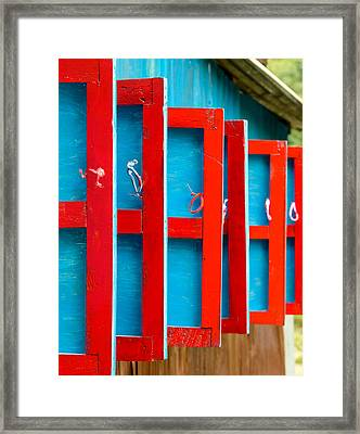 Red And Blue Wooden Shutters Framed Print