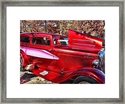 Red And Chrome Framed Print