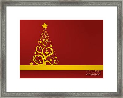 Red And Gold Christmas Card Framed Print by Martin Capek