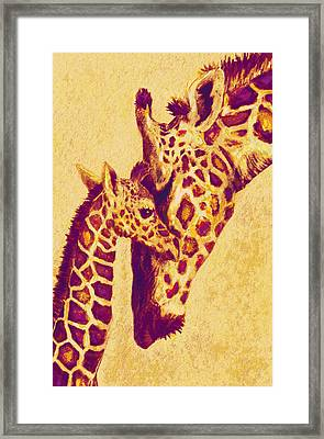 Red And Gold Giraffes Framed Print