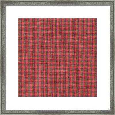 Red And Green Checked Plaid Pattern Cloth Background Framed Print by Keith Webber Jr
