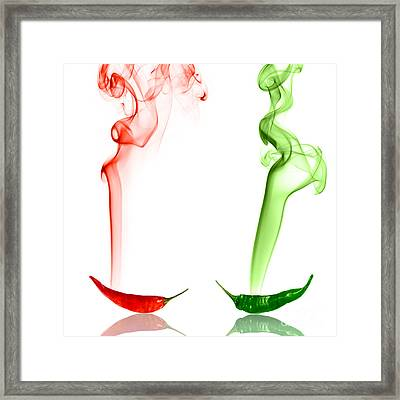 Red And Green Chili Smoke Photography Framed Print