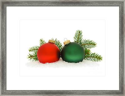Red And Green Christmas Baubles Framed Print