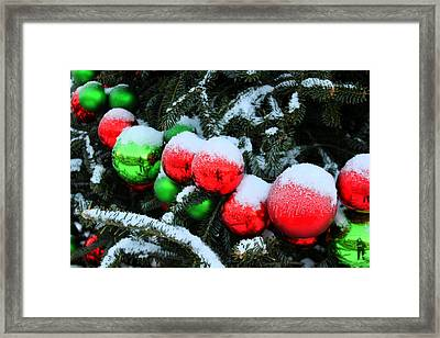Red And Green Christmas Ornaments Framed Print
