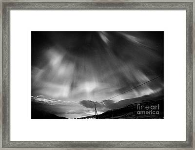 Red And Green Corona Northern Lights Aurora Borealis Near Tromso In Northern Norway Europe Framed Print