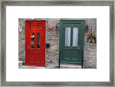 Red And Green Doors Of Quebec Framed Print by Juergen Roth