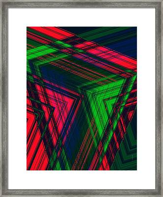Red And Green In Geometric Design Framed Print by Mario Perez