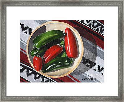 Framed Print featuring the painting Red And Green Peppers by Laura Forde