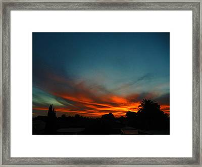 Red And Green Sunset Framed Print
