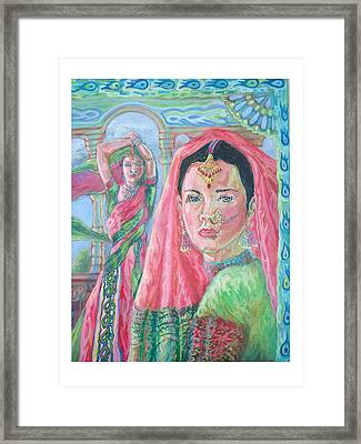 Framed Print featuring the painting Red And Green by Suzanne Silvir