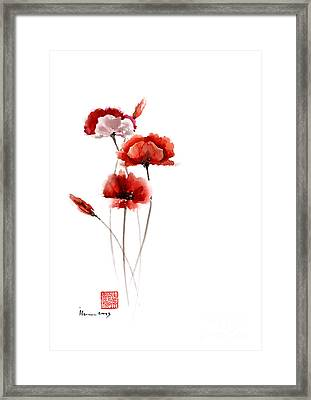 Red And Orange Poppies Nature Field Watercolor Painting Summer Fragrances Framed Print by Mariusz Szmerdt