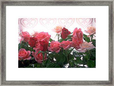 Red And Pink Roses In Window Framed Print