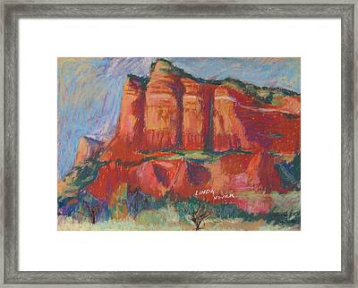 Framed Print featuring the painting Red And Purple by Linda Novick