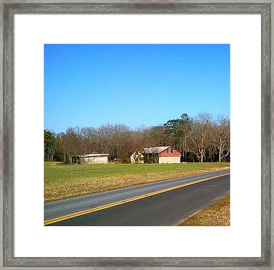 Red And White Barn With Trees Framed Print by Amazing Photographs AKA Christian Wilson
