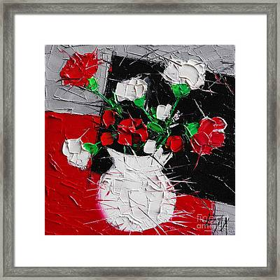 Red And White Carnations Framed Print by Mona Edulesco