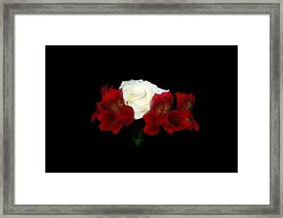 Red And White Framed Print by Cecil Fuselier
