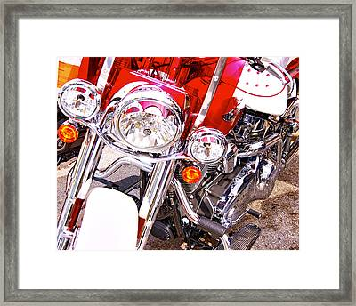 Red And White Framed Print by Dieter  Lesche