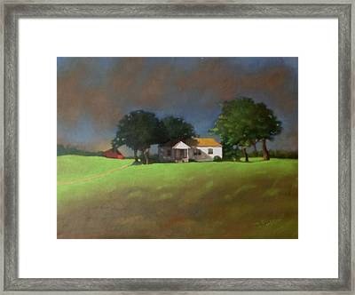 Red And White Framed Print by Janet McGrath