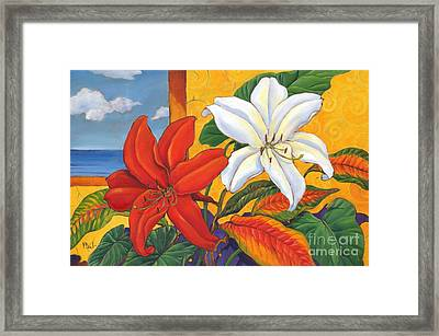 Red And White Lillies Framed Print by Paul Brent