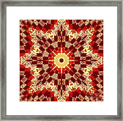 Red And White Patchwork Art Framed Print by Barbara Griffin