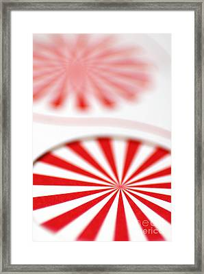 Red And White Pinwheels Framed Print by Amy Cicconi