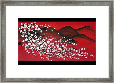 Red And White Sakura Framed Print by Cathy Jacobs