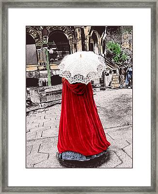 Red And White Walking Framed Print by Kae Cheatham