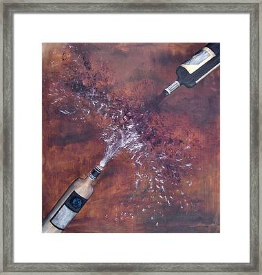Red And White Wine Explosion Framed Print by Michelle Iglesias
