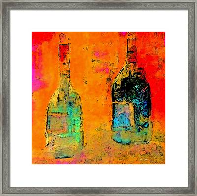 Framed Print featuring the painting Red And White Wine by Lisa Kaiser