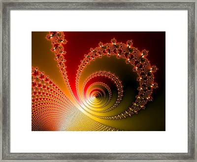 Red And Yellow Abstract Fractal Framed Print by Matthias Hauser