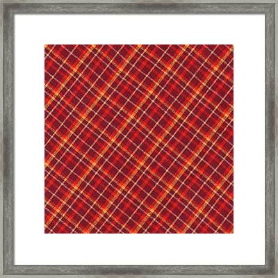 Red And Yellow Diagonal Plaid Textile Design Background Framed Print by Keith Webber Jr