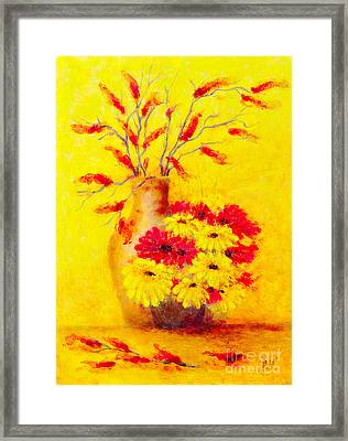 Red And Yellow Flower Framed Print by Martin Capek