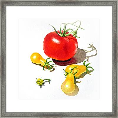 Red And Yellow Tomatoes Framed Print by Irina Sztukowski