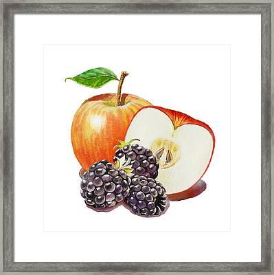 Red Apple And Blackberries Framed Print