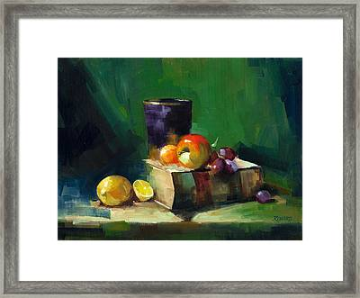 Red Apple Book And Purple Framed Print by Pepe Romero