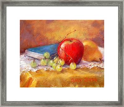 Red Apple Framed Print by Nancy Stutes