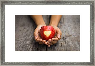 Red Apple With Engraved Heart Framed Print