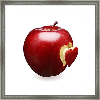Red Apple With Heart Framed Print by Johan Swanepoel