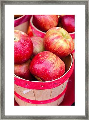 Red Apples In Baskets At Farmers Market Framed Print