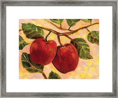 Red Apples On A Branch Framed Print by Jen Norton
