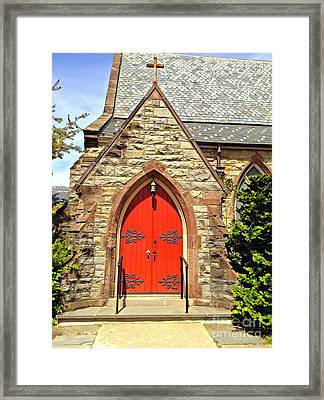 Framed Print featuring the photograph Red Arch Church Door 1 by Becky Lupe