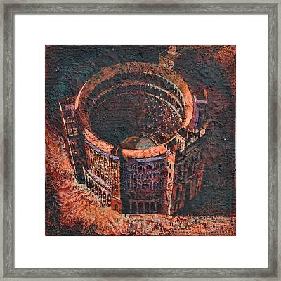Framed Print featuring the painting Red Arena by Mark Howard Jones