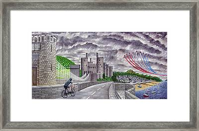 Red Arrows At 1000 Feet Over Conway Castle Framed Print by Ronald Haber