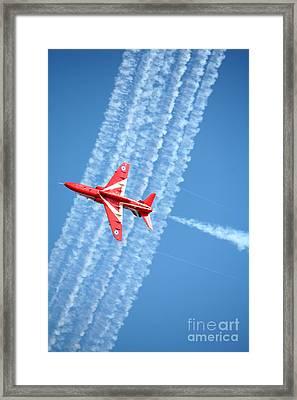 Red Arrows At Lowestoft Framed Print by Paul Cowan