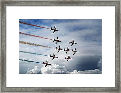 Red Arrows In Typhoon Formation Framed Print