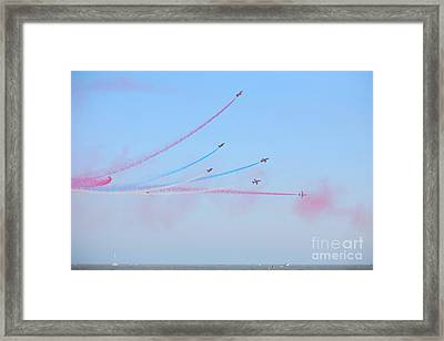 Red Arrows Over The Sea Framed Print by Paul Cowan