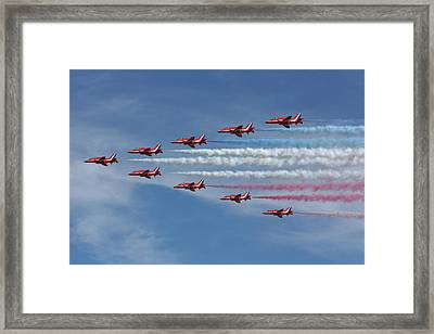 Red Arrows V Formation Framed Print by Phil Clements