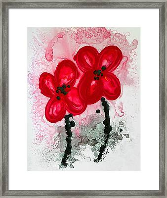 Red Asian Poppies Framed Print